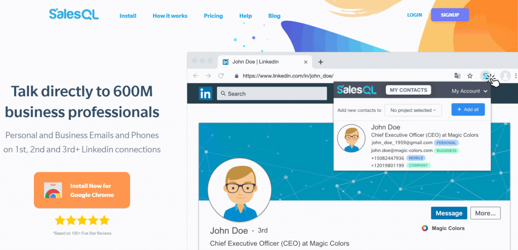 SalesQL is a LinkedIn email lookup tool that identifies personal and business email addresses on the platform.
