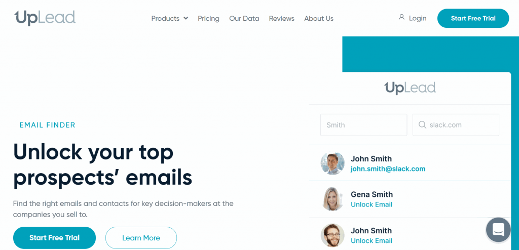 The UpLead Email Finder Tool is a B2B sales prospecting app that uncovers email addresses on the LinkedIn platform.