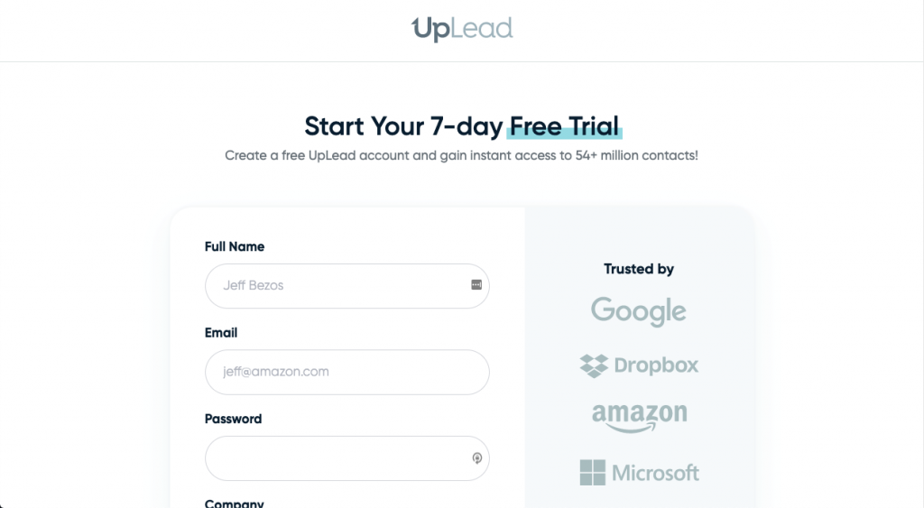 UpLead's landing page allows for users fo give company information and their email address in exchange of cheaper services.