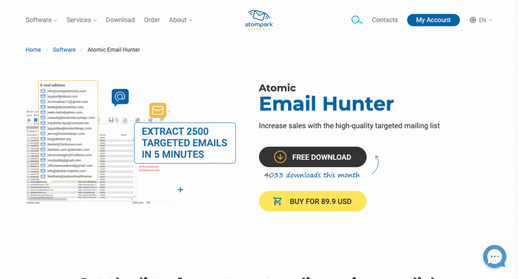 Atomic Email Hunter is a bulk email extractor that also offers a Facebook email extractor add-on.