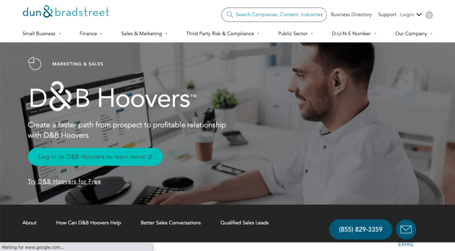 D&B Hoovers has a database of 120 million business records and analytics to extract email addresses from.