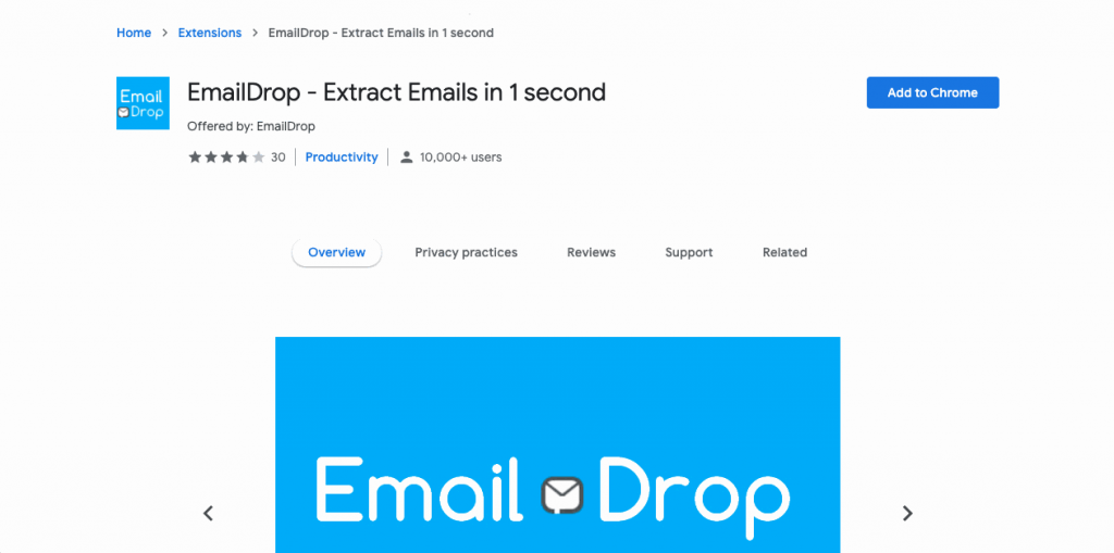 EmailDrop is another Chrome extension built to allow users to extract emails while browsing the web.