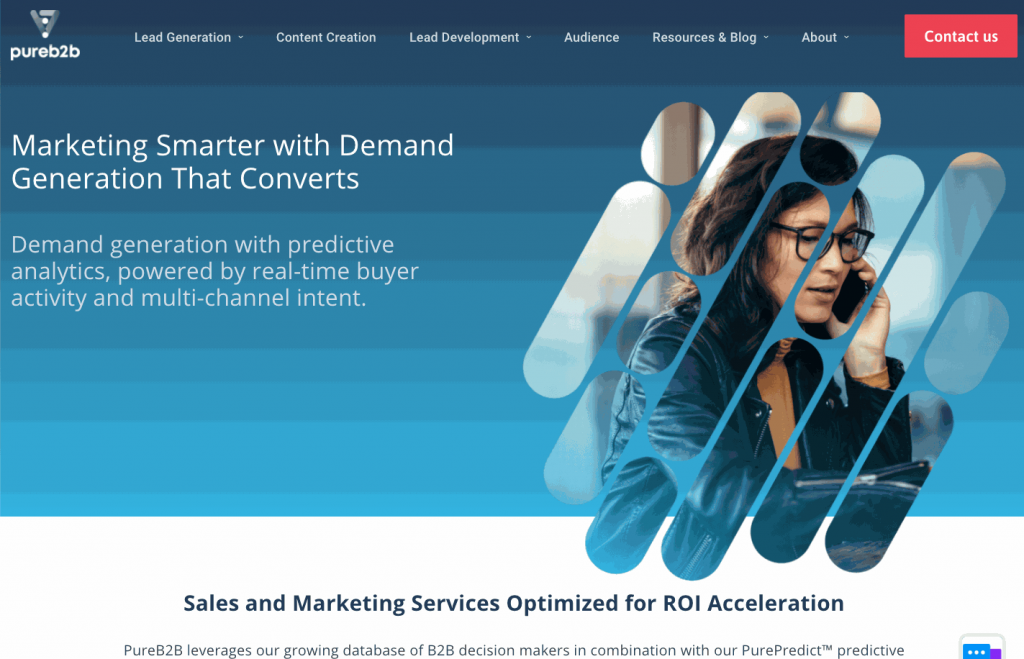 PureB2B offers users sales and marketing services including lead generation