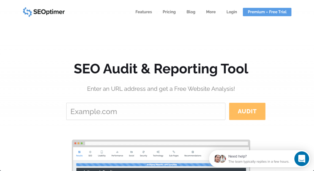 SEOptimer is a free SEO Audit Tool that will perform a detailed SEO Analysis across 100 website data points