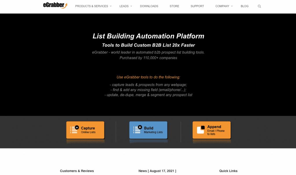 eGrabber is a prospect list builder that features multiple lead generation features