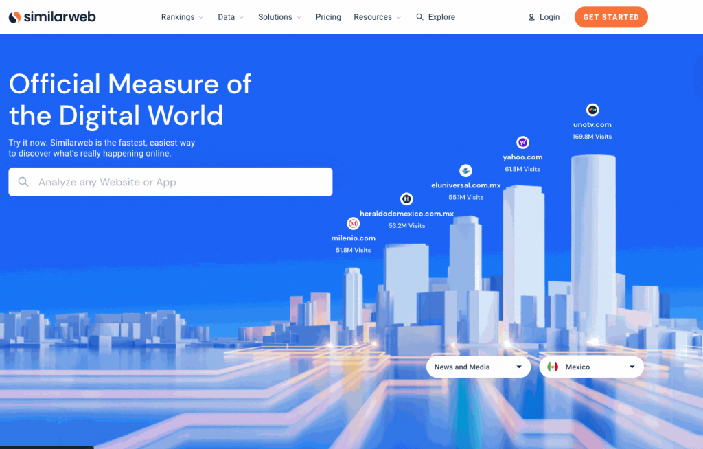 SimilarWeb offers users over 100 million profiles to browse