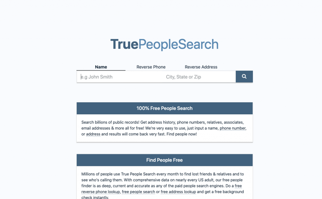 TruePeopleSearch is a 100% free people search, reverse phone lookup and address lookup service.