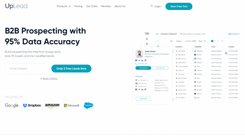 UpLead is a simple but high-quality CEO email finder that allows you to connect to the right leads.