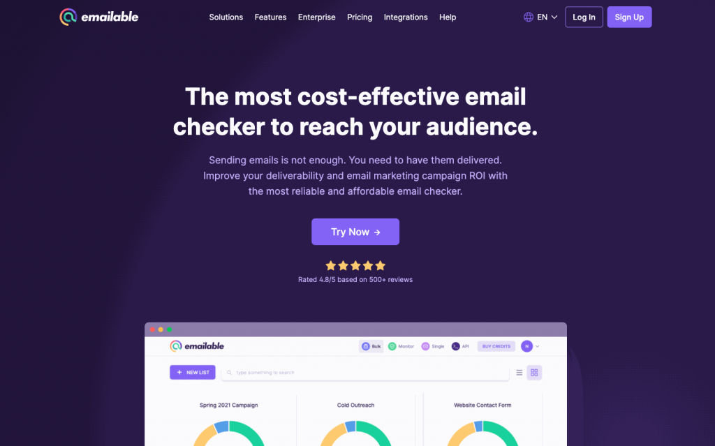 Emailable is a cloud-based email verification tool mainly used by marketers and developers