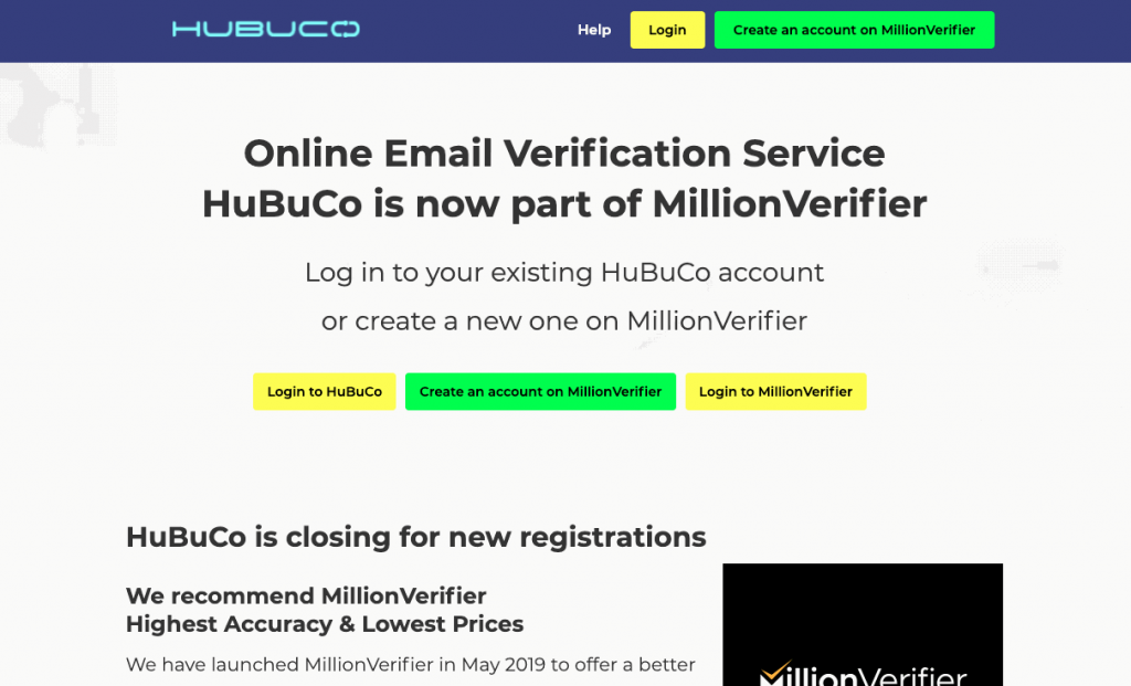 HuBuCo offers bulk email verification and a real-time email verification API to help users maintain a clean and valid email list.